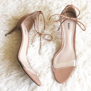 Schutz Natural Clear Transparent Heels Sandals